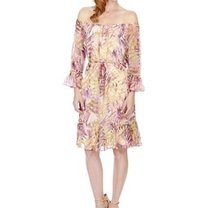 Lucky Brand Printed Off The Shoulder Casual Dress